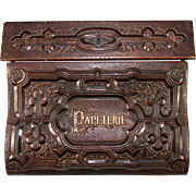 """SOLD Antique French Writer's Slope, Ecritoire, In Deep Embossed Leather Stationery Box, """""""