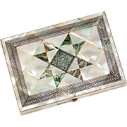 SALE Antique Mother of Pearl Parquet Calling Card Case, Wallet Size or Evening Purse, English