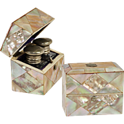 SOLD Antique Scent Caddy, Casket or Box, 2 Bottles, Mother of Pearl Parquet, English 19th C.