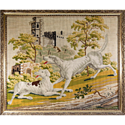 SALE RARE Huge Antique Victorian Needlepoint Tapestry Sampler of 2 Hounds & a Castle, 30""