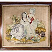 SALE Charming Large Georgian to Victorian Era Needlepoint, Needlework Canvas in Frame, 2 Girls