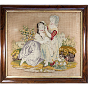 SALE Charming Large Georgian to Victorian Era Needlepoint, Needlework Canvas in Frame, 2 Girls