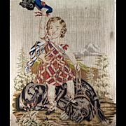 """SOLD HUGE 31"""" x 27"""" Needlepoint Tapestry, Highland Scottish Child and Large Dog, Fab"""