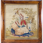 SALE Fine Victorian Needlepoint Tapestry , Girls and Parrot in Original c.1840s Frame, 19""