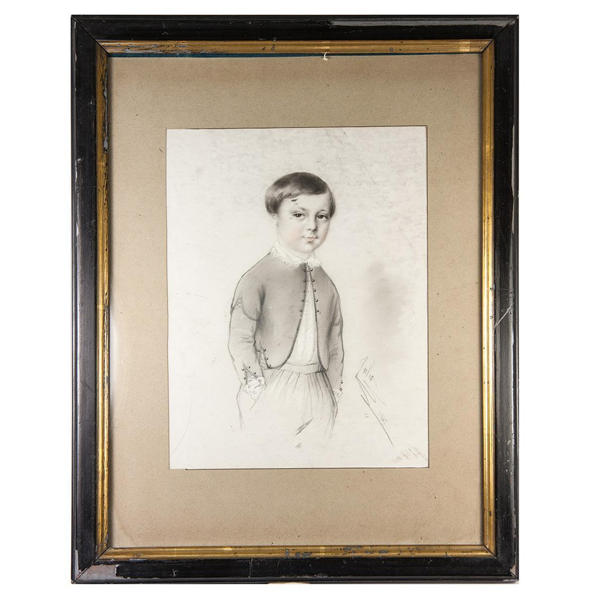 Exceptional antique pencil drawing portrait of a boy 14x11 frame