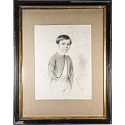"SALE Exceptional Antique Pencil Drawing, Portrait of a Boy, in 14"" x 11"" Frame, Sign"