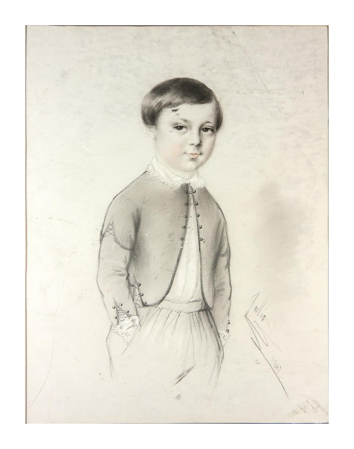 Exceptional antique pencil drawing portrait of a boy 14x11 frame signed 1847