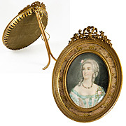 SOLD Fine Antique French Portrait Miniature in Dore Bronze Frame, Vellum, Mme Du Barry