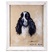SALE Antique French Pastel Chalk Drawing Portrait of a Spaniel, Dog, in Frame c. 1900, Artist