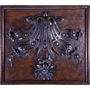 "SOLD Fine Antique French Hand Carved Wood Plaque, Panel for Cabinetry or Frame, 14"" x 12"""