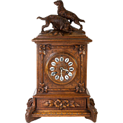 RARE Antique Black Forest Mantel Clock, 2 Dogs Carved in Wood