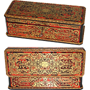 "SALE Rare Antique French Boulle 10.5"" Desk Casket, Ornate Inlays on all Sides, Marked ..."