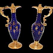 SALE Gorgeous RARE Antique French Charles X Era PAIR of Cobalt Blue Glass & Gilt Ormolu ...