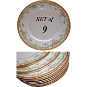 "SALE Gilt Parcel Rim, Floral Garlands on These 9 Antique French Porcelain 9.5"" Plates"