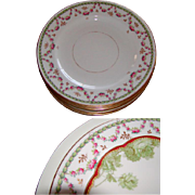 SALE Antique Copeland Spode Luncheon Plates: Set of 10! Holiday Floral & Gold