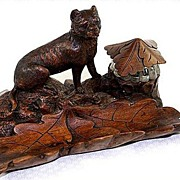 SALE RARE Antique Black Forest Carved Lion, Inkwell and Desk Set, Pen Tray