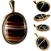 SALE Antique Scottish Banded Agate Pendant, 18k Mourning Locket