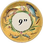 """SALE Antique Minton 9"""" Cabinet Plate, Gold with Hand Painted Fish, Flowers & Cattails!"""