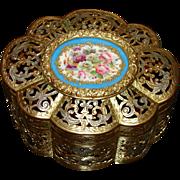 "SALE Antique French Napoleon III 6"" Jewel Casket, Gilt Ormolu with Sevres Floral Porcelai"