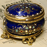 """SOLD Fab Antique French Jewelry Casket,  """"Jeweled"""" Cobalt Enamel"""