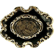 SALE Antique Victorian Mourning Brooch, Enamel on 12k Gold - Hair locket, c. 1840-60