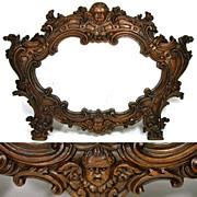 """SALE Magnificent Antique Victorian Era Figural 22"""" Carved Oak Mirror, Winged Cherub or Pu"""