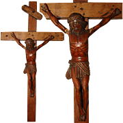 "SALE Antique Carved Wood Religious Sculpture, Medieval Style Crucified Christ on 17"" Cros"
