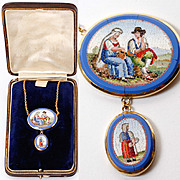 "SALE Antique c. 1800 Micro Mosaic Pendant, 18k Gold 20"" Chain, 2 Plaques with People, Mic"