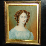 SOLD Lovely Antique Georgian Era Hand Painted Portrait Miniature, Woman with Curls