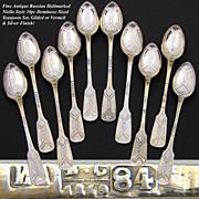 SALE Antique Russian Hallmarked Silver 10pc Niello Style Demitasse Teaspoon Set, Gold & Silver