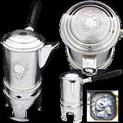 SALE Antique French Sterling Silver 3pc Traveler's Coffee Biggin, Ornate Decoration