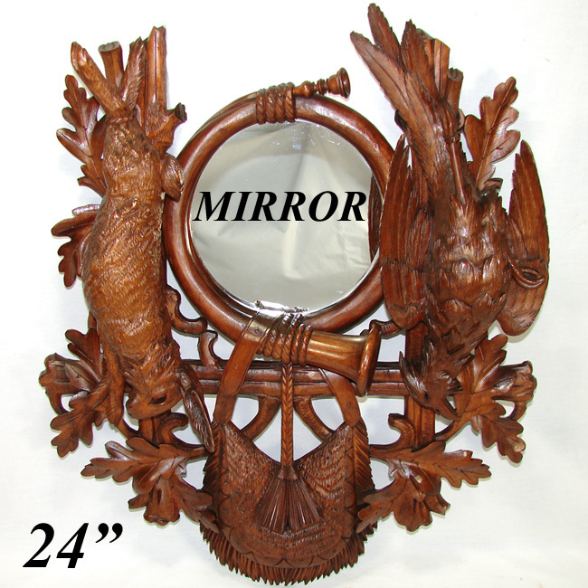 "Broom Stick Bunny Mirror: Antique Black Forest Carved 24.5"" Wall Mirror Plaque, Hunt"