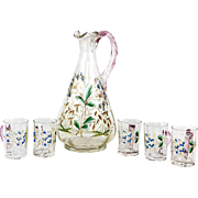 SALE Charming Antique French Enameled Glass Liqueur Service, Decanter with Cordial Cups