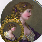 "SALE Antique Kiln-fired Enamel Miniature Portrait, 'Naughty"", and in Fine French Frame, c"