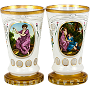 SALE A Pair of Fine Antique Moser Bohemian Art Glass Tumblers, Glass  or Goblet, Vase with Pai