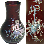 SALE Wonderful Little Antique French Vase, Kiln-fired Enamel by Thiebaut Freres, PARIS - Putti