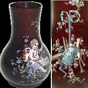 SALE Wonderful Little Antique French Vase, Kiln-fired Enamel by Thiebaut Freres, PARIS - Putti