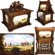 "SOLD Magnificent Antique Black Forest Carved 17"" Liquor Tantalus, Cellarette with FOX & H"