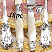 SALE Gorgeous Antique French Sterling Silver 48pc Entremet or Dessert Flatware Set, 4pc Settin