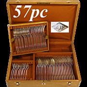 SALE 57pc Antique French PUIFORCAT Sterling Silver Flatware Set, 'Suffren' Pattern, Oak Chest