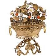 SOLD Antique French Sevres Porcelain Flowers, Ormolu Bouquet tops Jewelry Box, Palais Royal Ca