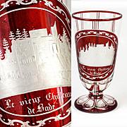 SALE Antique Grand Tour Goblet, Bohemian Ruby Glass Engraved, Chateau de Bade