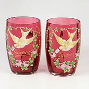 "SALE Pair of 4"" Tall Antique French Cranberry Glass Souvenir Wine Cups, Enamel Doves, Leg"