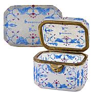 SALE Antique Moser Bohemian Souvenir Sugar Casket, Box, Crackle Glass with Raised Jewel Dots,
