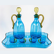 SALE Superb Antique French Napoleon III LeGras Blown Glass Liqueur Service, 9 Pc, Incl Tray, 2