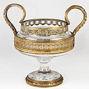 SALE Fabulous Antique French Baccarat Centerpiece, Empire Dore Bronze Framework & Handles
