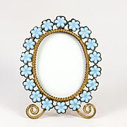SALE Antique French Opaline Frame, Flowers in Blue Opaline Glass, Ormolu Body & Easel Miniatur