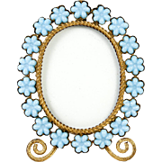 SALE Antique French Opaline Frame, Flowers in Blue Opaline Glass, Ormolu Body & Easel Miniatur