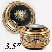 SALE Fine Antique Italian Micromosaic Powder Box, Enamel, Grand Tour c.1840-60s Micro Mosaic P