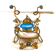 SALE Superb Antique French Palais Royal Inkwell and Pen Stand, Opaline and Mother of Pearl ...